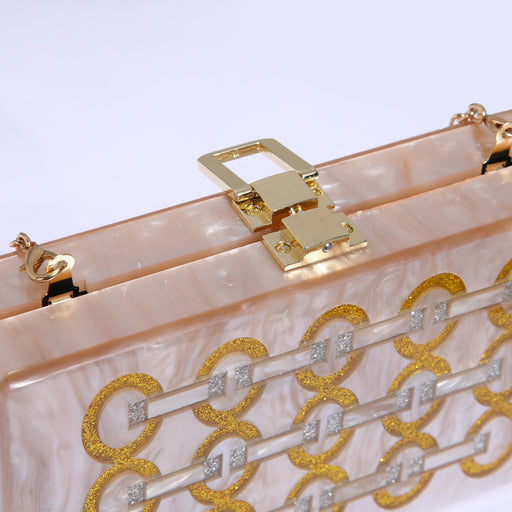 Sequined splice box clutch bag