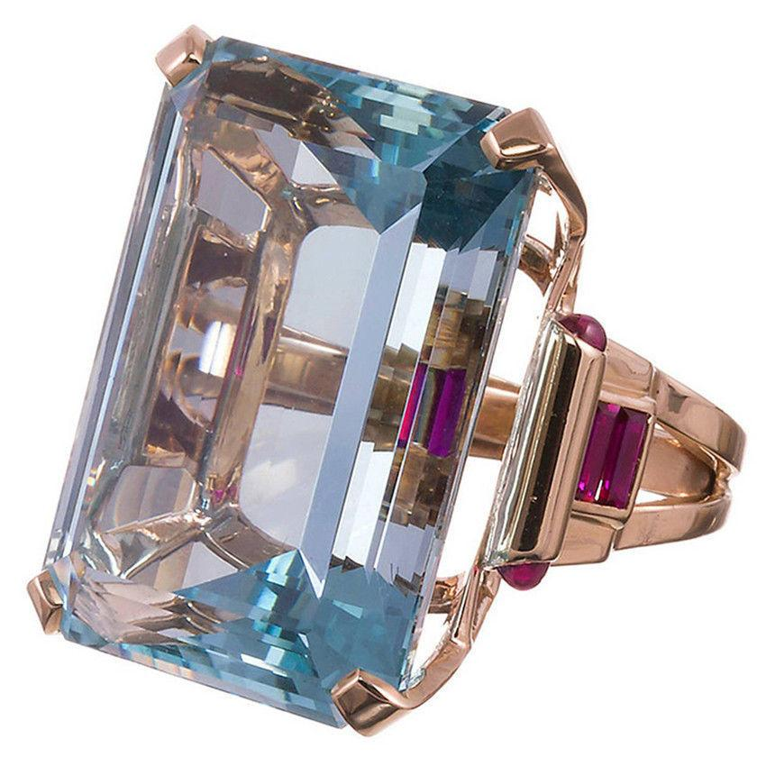 Red corundum plated with rose gold aquamarine women's birthday ring