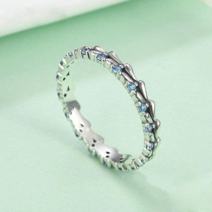 Wave ring aquamarine women's birthday ring