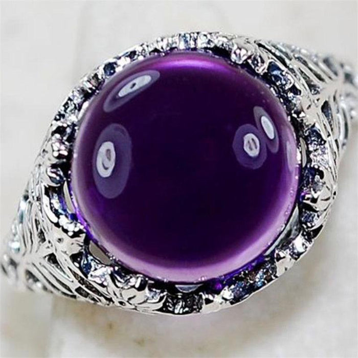 Retro 925 silver plated amethyst ring