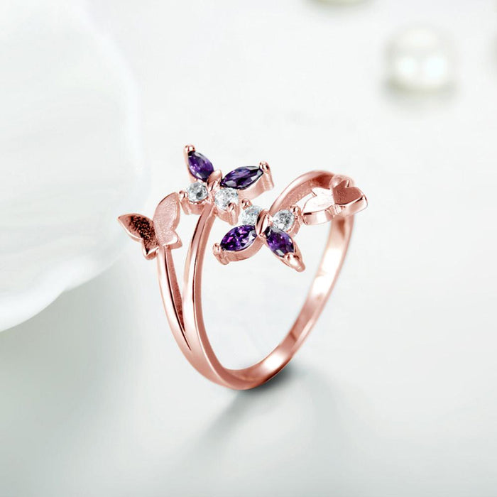 Temperament butterfly love copper plated amethyst bow ring