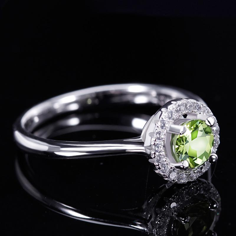 Fashionable romantic proposal s925 sterling silver peridot women's ring