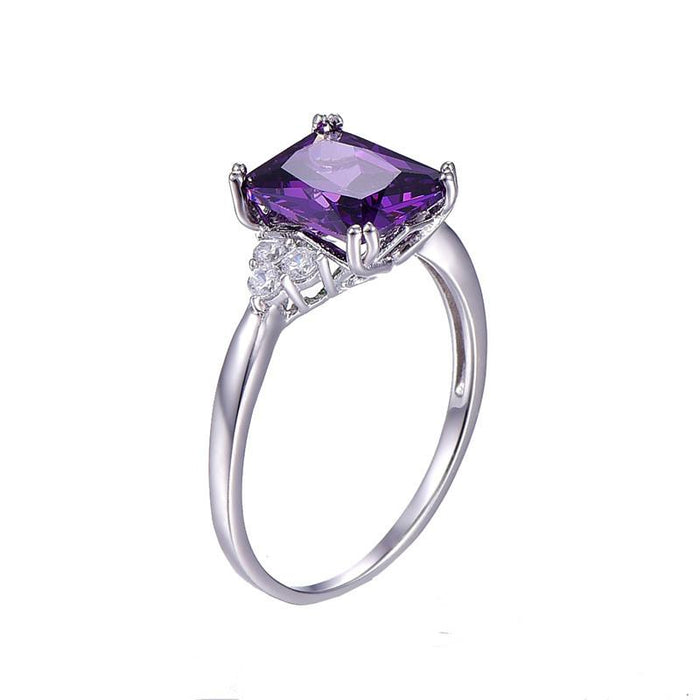 Oblong chamfered amethyst women's ring
