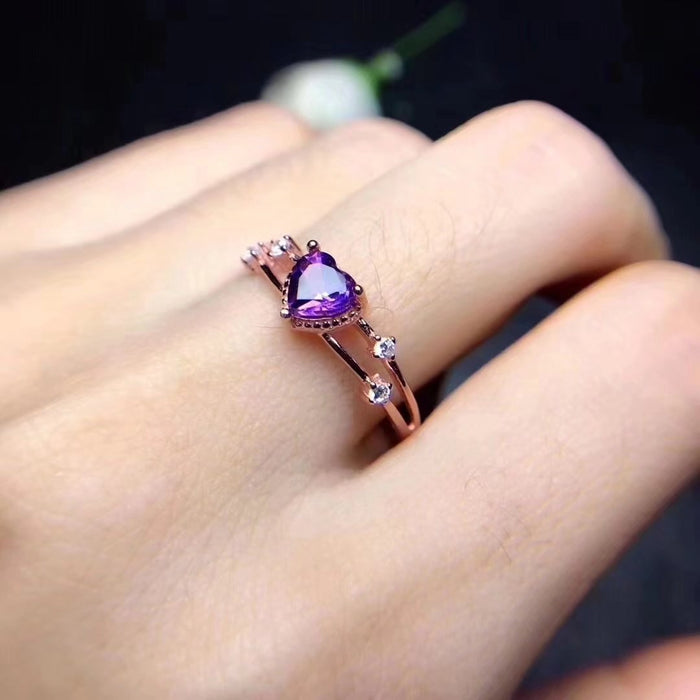 14k rose gold plated heart-shaped amethyst birthday ring