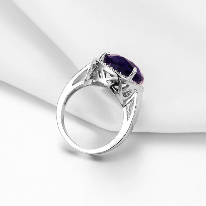 Zircon inlaid with natural amethyst women's ring - Exaggerated egg-shaped
