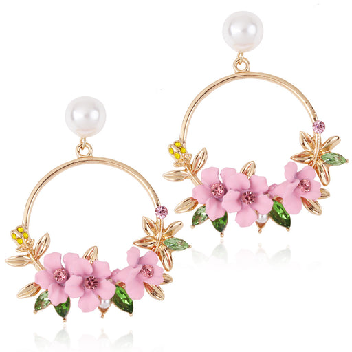Sweet Korean flower earrings soft clay pearl earrings ear jewelry