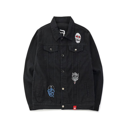 Black Port Wind Tide Hip Hop Japanese Street Embroidery Denim Jacket