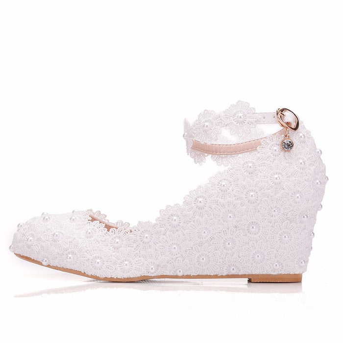 Glitterb Heels   -White lace Pearl