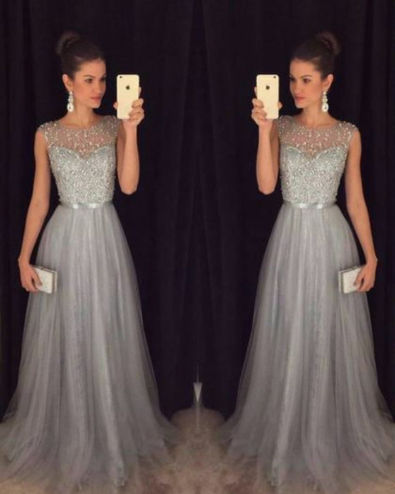 Sequined long dress spliced with chiffon frilly evening dress