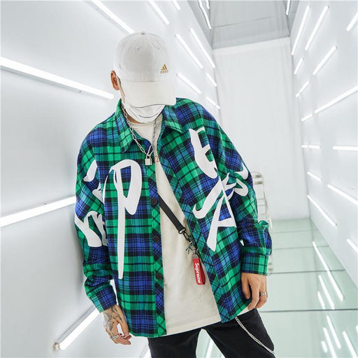 Printing Plaid Hip Hop Loose Bat Sleeve Japanese Street Shirt