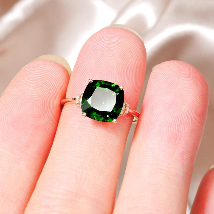 18-karat rose gold plated women's birthday emerald ring
