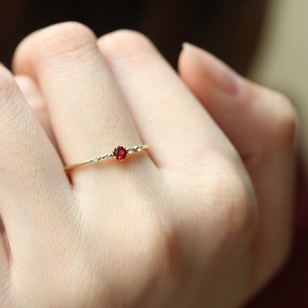 18k gold plated ruby women's birthday ring
