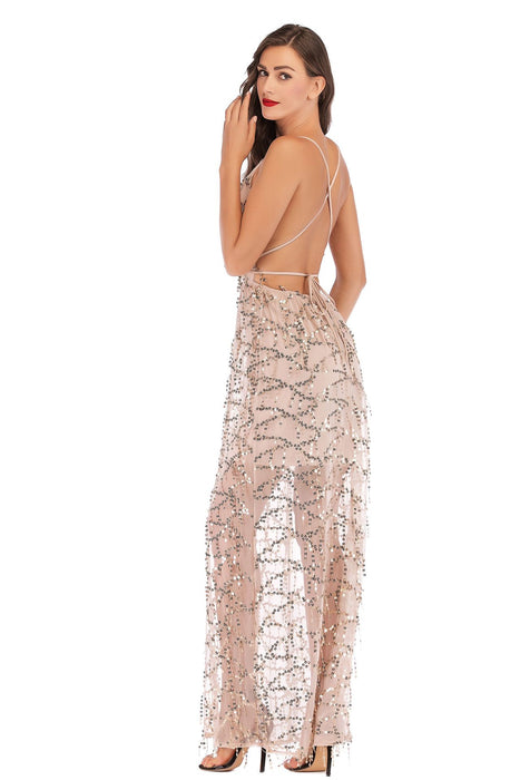 Sequined strapless sexy backless deep V-neck tassel dress