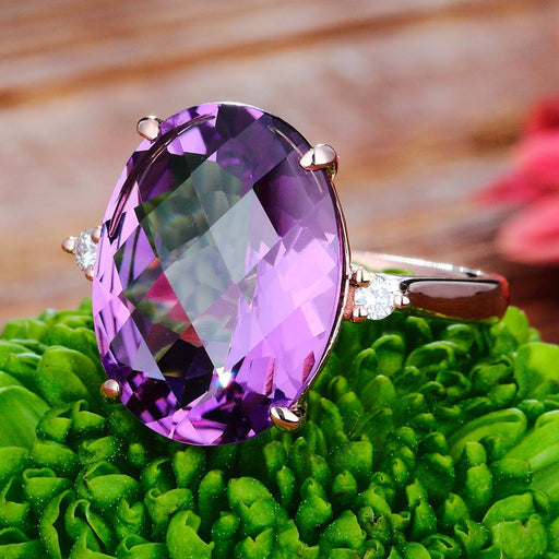 18-karat rose tortoise face cutters amethyst women's ring