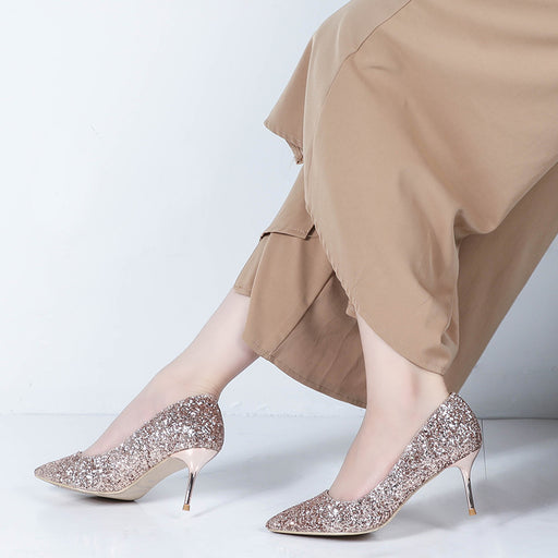 Glitter Heels  - Shallow mouth,Pointed,Stiletto,sequins