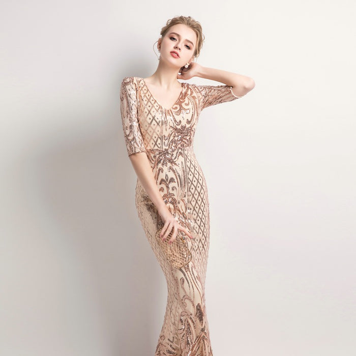 Sequin evening dress slim banquet host half sleeve dress