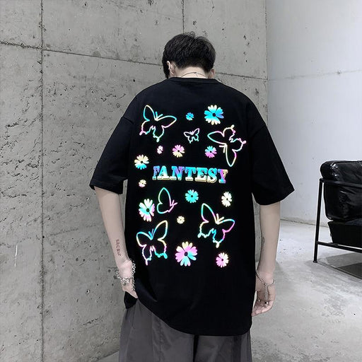 Japanese Trendy Male Personality Colorful Butterfly T-Shirt