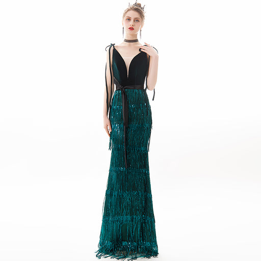Glitter dark green dress with sling deep V-neck fringe bow