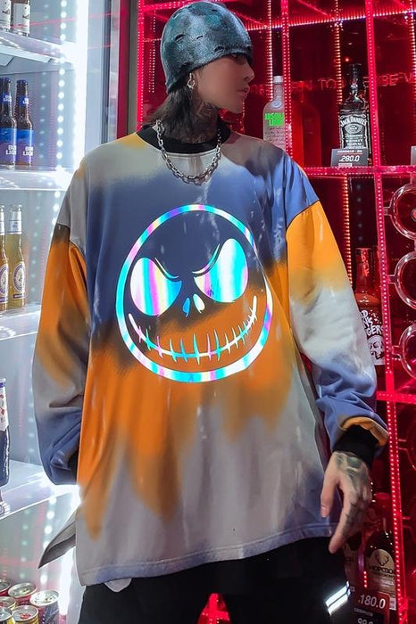 Japanese Trendy Men's Colorful Reflective Printing Round Neck Long Sleeve Sweater