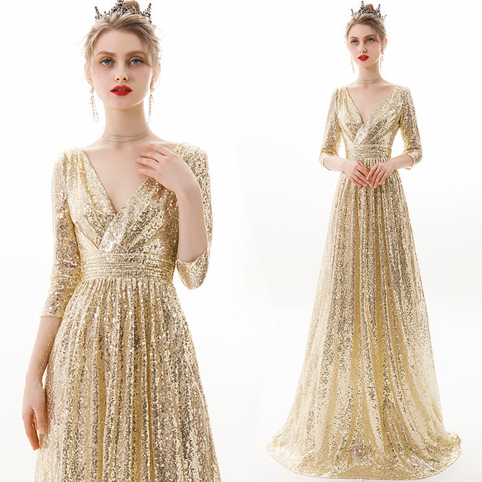 Sequin Champagne Evening Dress