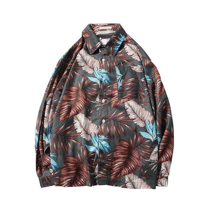 Japanese island style retro couple long-sleeved floral shirt