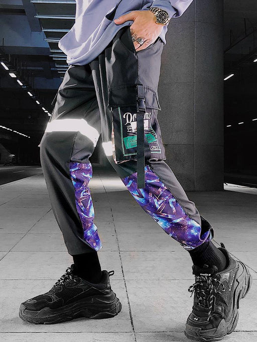 Japanese Hip Hop Reflective Men's Trendy Bundled Casual Long Pants