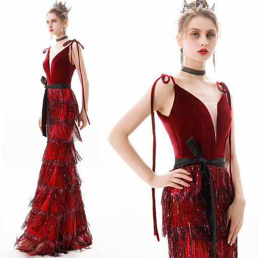 Wedding Sling Deep V Neck Tassel Bow Glitter Red Gown