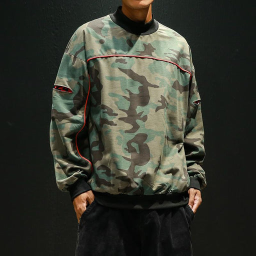Camouflage Round Neck Long Sleeve Loose Sweatshirt