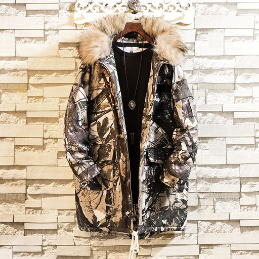 Japanese loose hooded workwear cotton uniform mid-length camouflage jacket