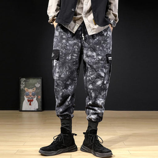 Japanese tie-dye workwear camouflage loose functional trousers