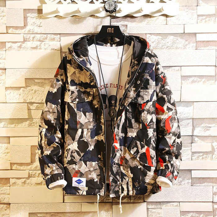 Japanese loose camouflage jacket with hood