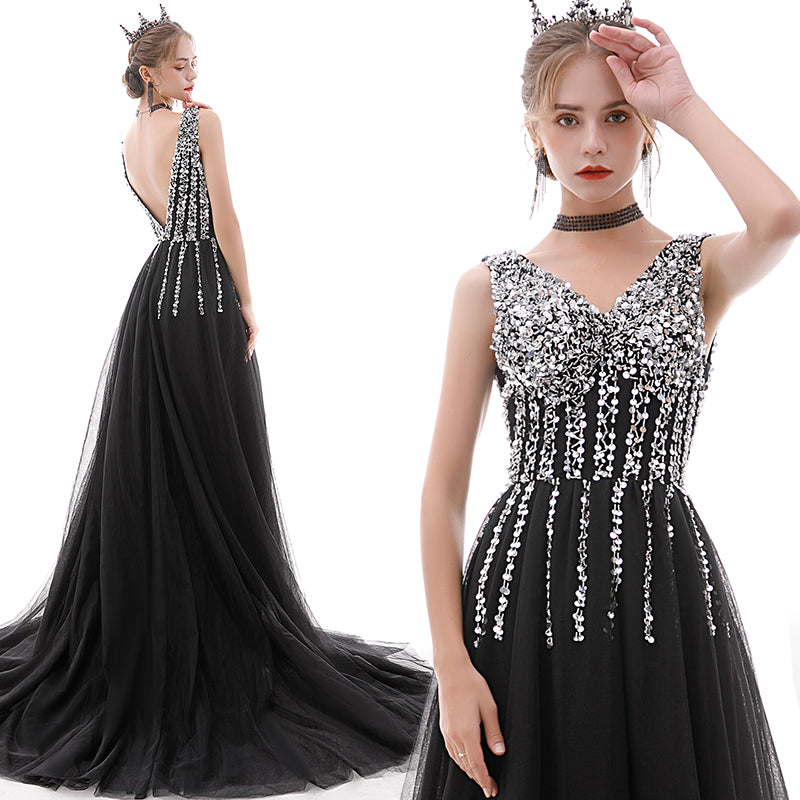 Party Sexy Temperament Fantasy Birthday Sequin Black Dress