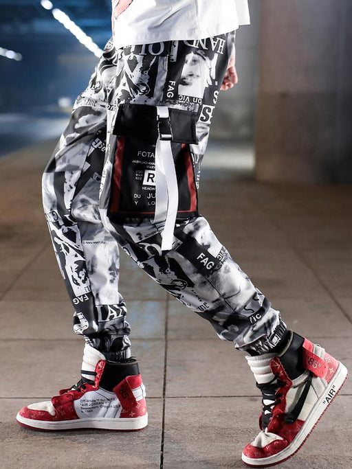 Japanese trend tie-dye cropped pants hiphop camouflage overalls