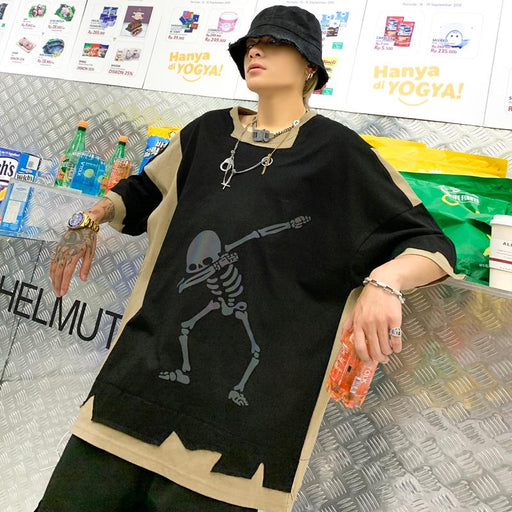 Japanese trendy male loose large size personality skull reflective printing color matching short sleeves