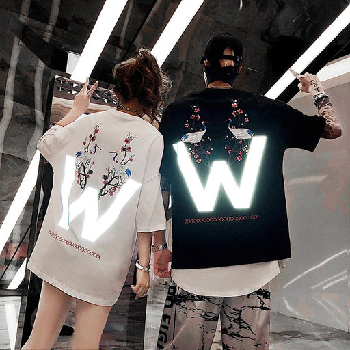 Japanese fashion reflective hip hop letter T-shirt