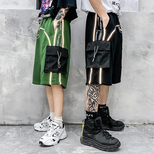 Japanese Reflective hip-hop loose straight casual five-point shorts