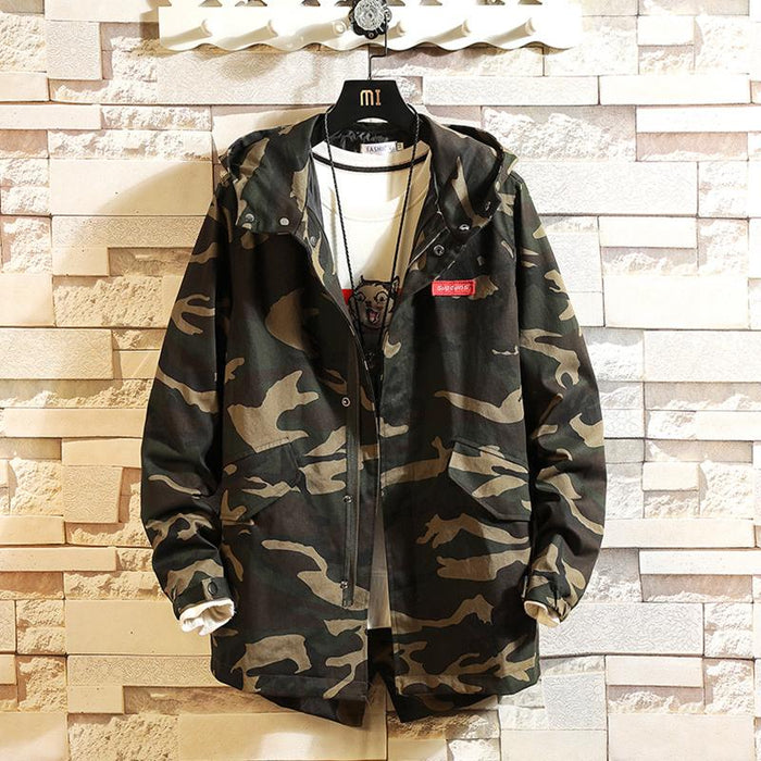 Japanese jacket men's mid-length loose trendy brand camouflage jacket