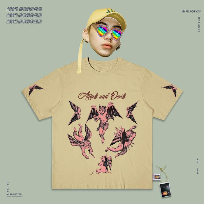 Retro T-shirt 90s Aesthetics Angel And Devil