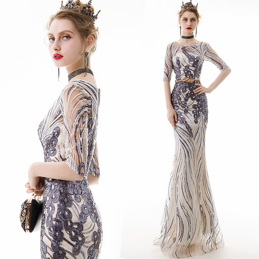 Banquet fishtail simple and generous Dazzling silver-gray Birthday gift dress