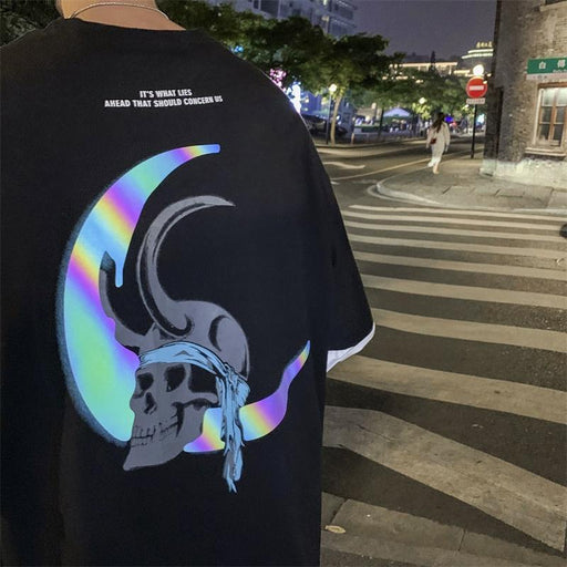 Japanese Reflective Half Moon Devil Skull T-Shirt