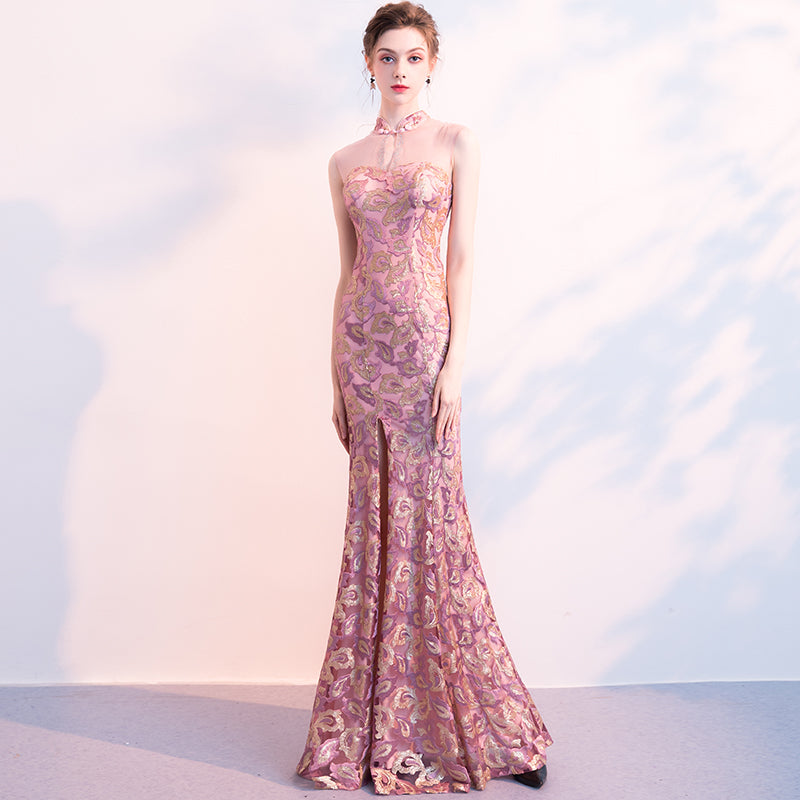 Pink and purple sequined long fishtail dress
