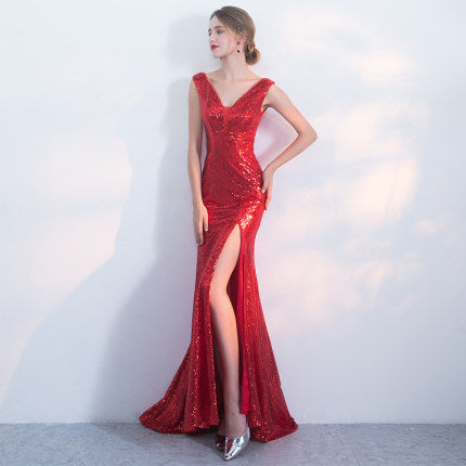 Bride Red Dazzling Deep V-neck   Fishtail evening dress