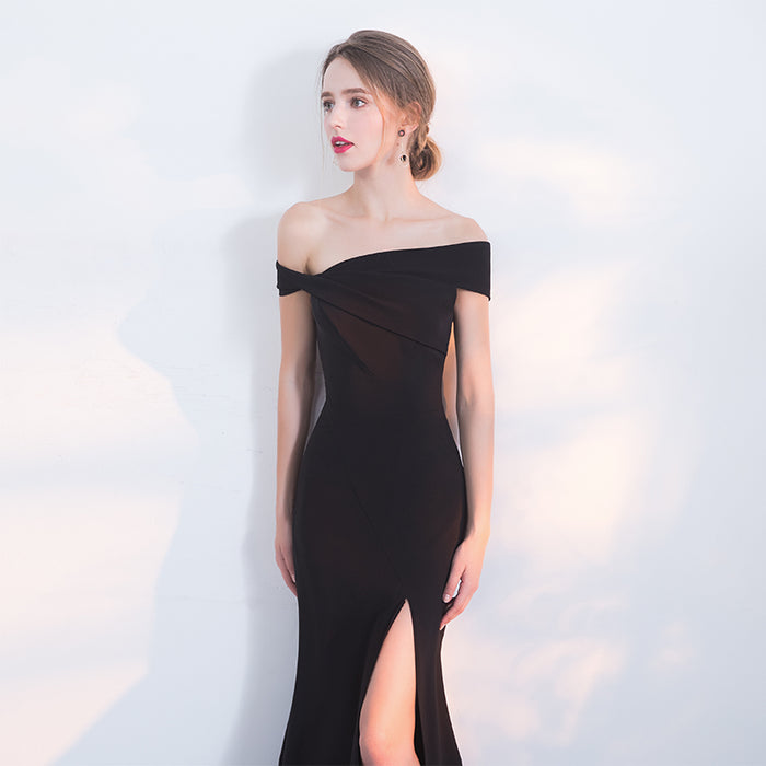 Black Glitter Banquet Split Shoulder Dress Women