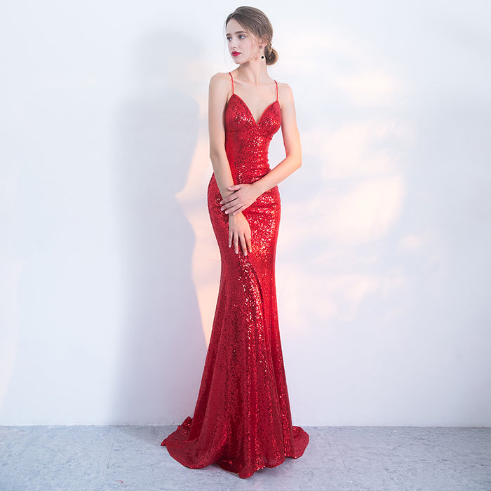 Bridal toast dress suspenders halter red sequined fishtail dress