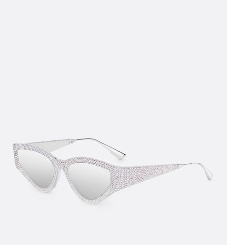 CATSTYLEDIOR1S BUTTERFLY SUNGLASSES WITH CRYSTALS - Silver