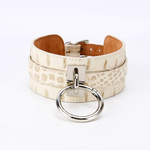 Croco Choker Bone