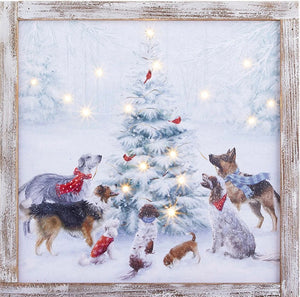 Dogs Around the Christmas Tree Lighted Framed Print (local delivery only)
