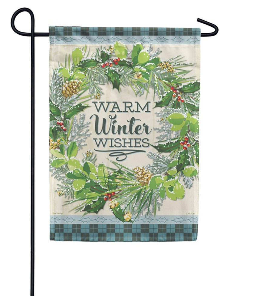 Snowy Wreath Garden Flag