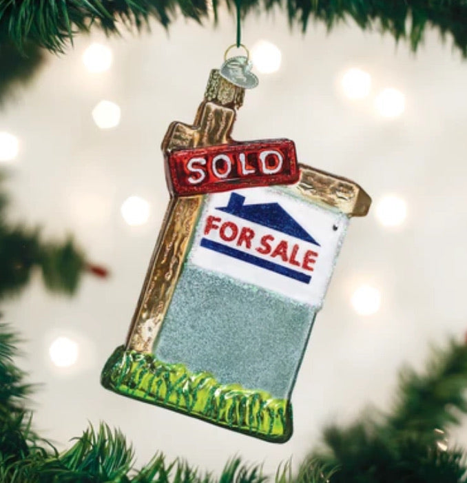 Realty Sign Glass Ornament