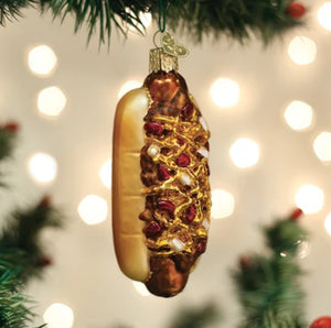 Chili Cheese Dog Glass Ornament